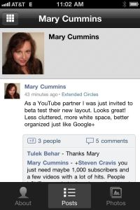 Mary Cummins on Google+ iPhone app